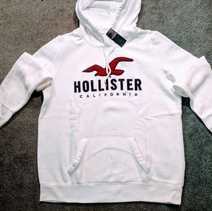Hollister Tops - Hollister White Logo Hoodie NWT Size L